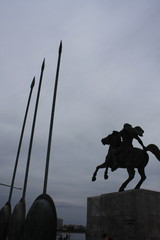 Statue of Alexander the Great at Thessaloniki city in Greece.