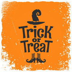 Trick or treat halloween witch lettering background