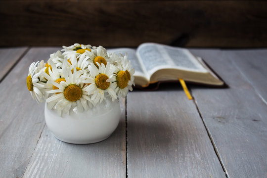 Bouquet of white daisies and bible