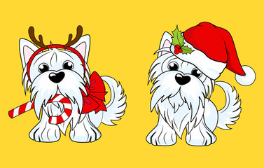 Cartoon character yorkshire terrier dog  in Christmas hat and dog in Christmas costumes with candy. Vector illustration for greeting card, poster, or print on clothes. Vector Illustration