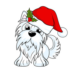 Cartoon character yorkshire terrier dog  in Christmas hat. Vector illustration for greeting card, poster, or print on clothes. Hand drawing, vector illustration isolated on background