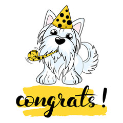 Vector illustration of a dog Yorkshire terrier decorated with a birthday cap on her head. with hand draw lettering congrats. Vector illustration for greeting card, poster, or print on clothes