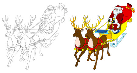 Santa Claus with deer coloring book with colored template.