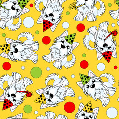 Seamless pattern of a dog Yorkshire terrier decorated with a birthday cap on her head. Vector background