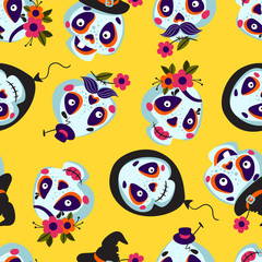 Seamless pattern of cartoons Skull. Background with Cute Skull Faces. Vector texture Illustration of a Halloween Skull. Mexican day of the dead.
