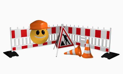 Emoticon mit Absperrgitter, Aufsteller und Leitkegel für eine Baustelle