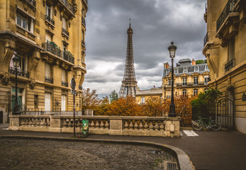 Fotomurales - Eiffel Tower at Avenue de Camoens, Paris