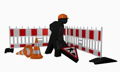 Baustellen-Männchen mit Baustellenschild und Leitkegel
