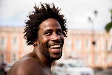 Afro handsome man smiling
