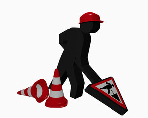 Construction site males with construction site sign and traffic cones in red and white