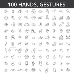 Hand gesture, touch, finger, palm, handshaking, forefinger, okey, body language, take money, pay by card line icons signs Illustration vector concept Editable strokes