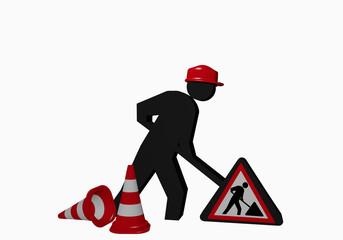 Baustellen-Männchen mit Baustellenschild und Leitkegel in rot-weiß