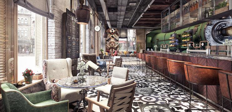 "Concept design of modern Restaurant lounge bar ""Train Station"" 3D Rendering"