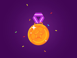 Gold medal with a star. Flat medal with ribbon. Vector illustration