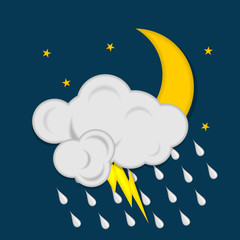 Moon with stars, clouds, lightning and raindrops on dark blue background. Weather icon. Vector illustration