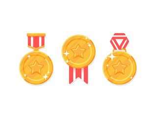 Set of winner medals. Gold medal with red ribbons isolated on white background. Vector flat icon