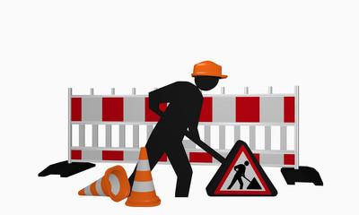Baustellen-Männchen mit Sicherheitshelm, Baustellenschild und Leitkegel für eine Baustelle