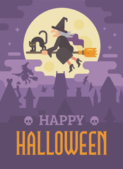 Halloween poster wth old witch flying on a broom with a black cat over the night city. Trick or treat. Happy Haloween greeting card