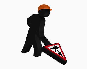 Baustellen-Männchen mit Sicherheitshelm und  Baustellenschild