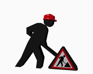 Baustellen-Männchen mit rotem Sicherheitshelm und  Baustellenschild