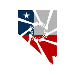 Pray for Las Vegas Nevada. Healing Hands. Vector Illustration