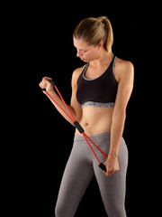 Young woman exercise with elastic fitness