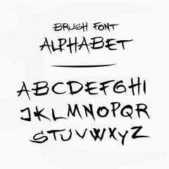 Vector hand drawn alphabet - letters written with a paint brush