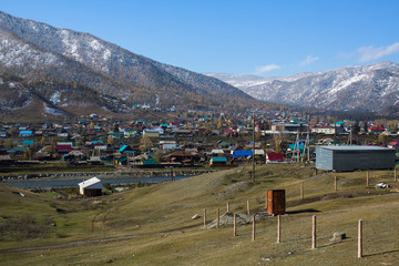 Onguday village in the mountains of the Altai Republic, Russia.
