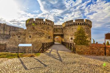Wooden bridge, two towers and Kalemegdan walls, HDR image.