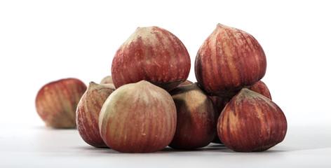 hazelnuts closeup on a light background