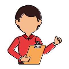 delivery worker with clipboard avatar character vector illustration design