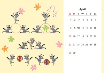 April. Colorful monthly calendar for 2018 with cute raccoon. Lovely page design for kids. Young sportsmen.