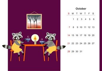 October. Colorful monthly calendar for 2018 with a cute raccoon. Beautiful design of the page for children. Autumn tea.