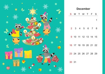 December. Colorful monthly calendar 2018 with cute raccoon. Lovely page design for kids. Winter holidays - Christmas and New Year.