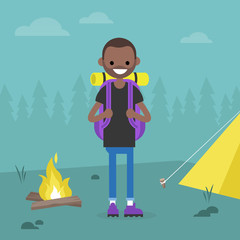 Young black backpacker traveling in a forest. Camping trip. / flat editable vector illustration, clip art