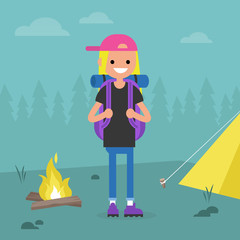 Young female backpacker traveling in a forest. Camping trip. / flat editable vector illustration, clip art