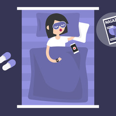 Sleeping tracker. Young female character wearing a wearable gadget in bed to control the quality of sleep. Flat editable vector illustration, clip art