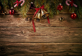 Decorative Christmas background against wood