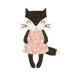 Obraz Cute cartoon cat girl in scandinavian style. Childish print for nursery, kids apparel,poster, postcard. Vector Illustration - fototapety do salonu