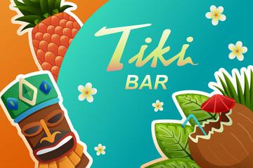 Tiki Bar Poster Illustration
