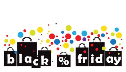 Black Friday advertising concept with copy space on white background