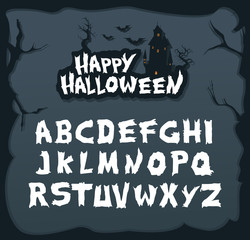 Hand drawn script font for halloween and spooky subjects. Unique creepy font in vector format