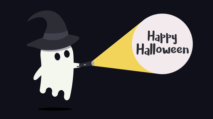 Cute ghost character with a witch hat just found the Happy Halloween message with his flashlight. Vector illustration