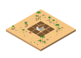 Isometric view of a desert farm
