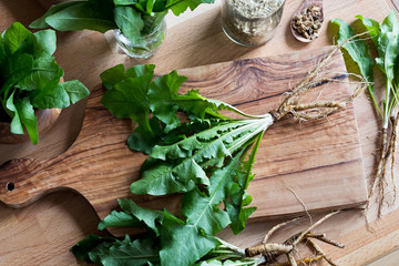 Whole dandelion plant including root on a wooden table Wall mural