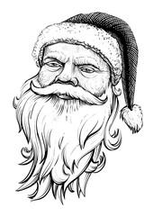 Santa Claus head. Vector hand drawn. illustration