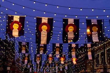 Colorado Flags on Larimer Square Denver