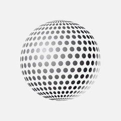 Abstract globe dotted sphere, 3d halftone effect vector background. Black and white vector illustration.