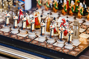 Retro Souvenir Chess game for sale at the Grand Bazaar market in Istanbul