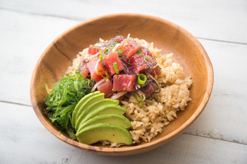 ahi poke bowl on brown rice